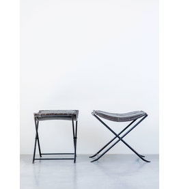 Collapsible Charcoal Leather & Metal Stool