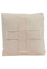 """Pillow - Square Cotton Mudcloth w Fringed """"X"""" Pattern"""