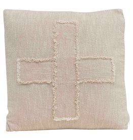"Pillow - Square Cotton Mudcloth w Fringed ""X"" Pattern"