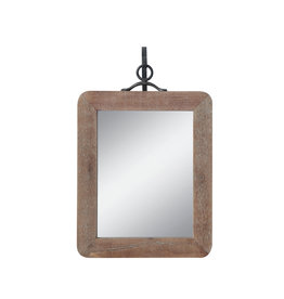 Small Wood Framed Rectangle Wall Mirror with Black Metal Hanging Bracket (Set of 2 Pieces)