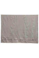 "84"" Cotton & Linen Blend ""Grateful. Thankful. Blessed"" Embroidered Tablecloth"