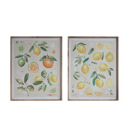 Fruit Image Wood Framed Canvas Wall Décor (Set of 2 Designs)