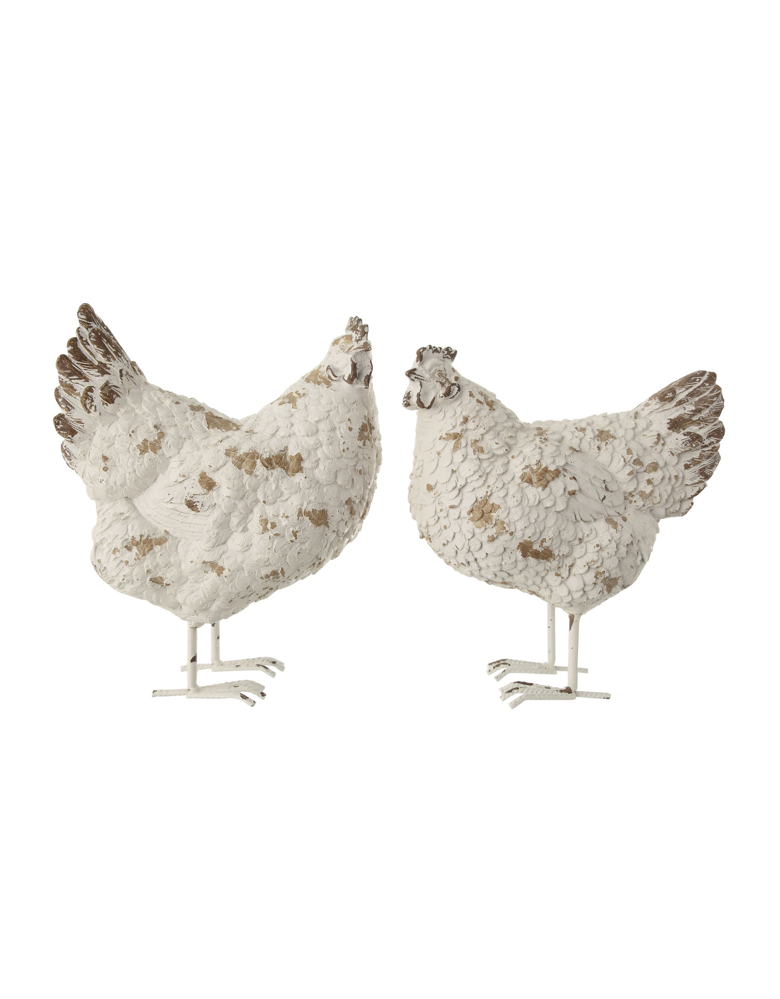 Distressed White Resin Hen Figurine with Metal Feet (Set of 2 Styles)