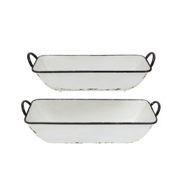 Distressed White Metal Containers (Set of 2)