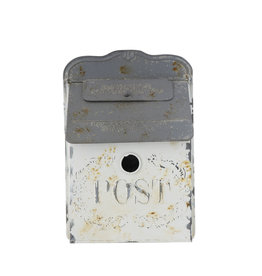 """Post"" Box - Embossed Tin, White & Grey"