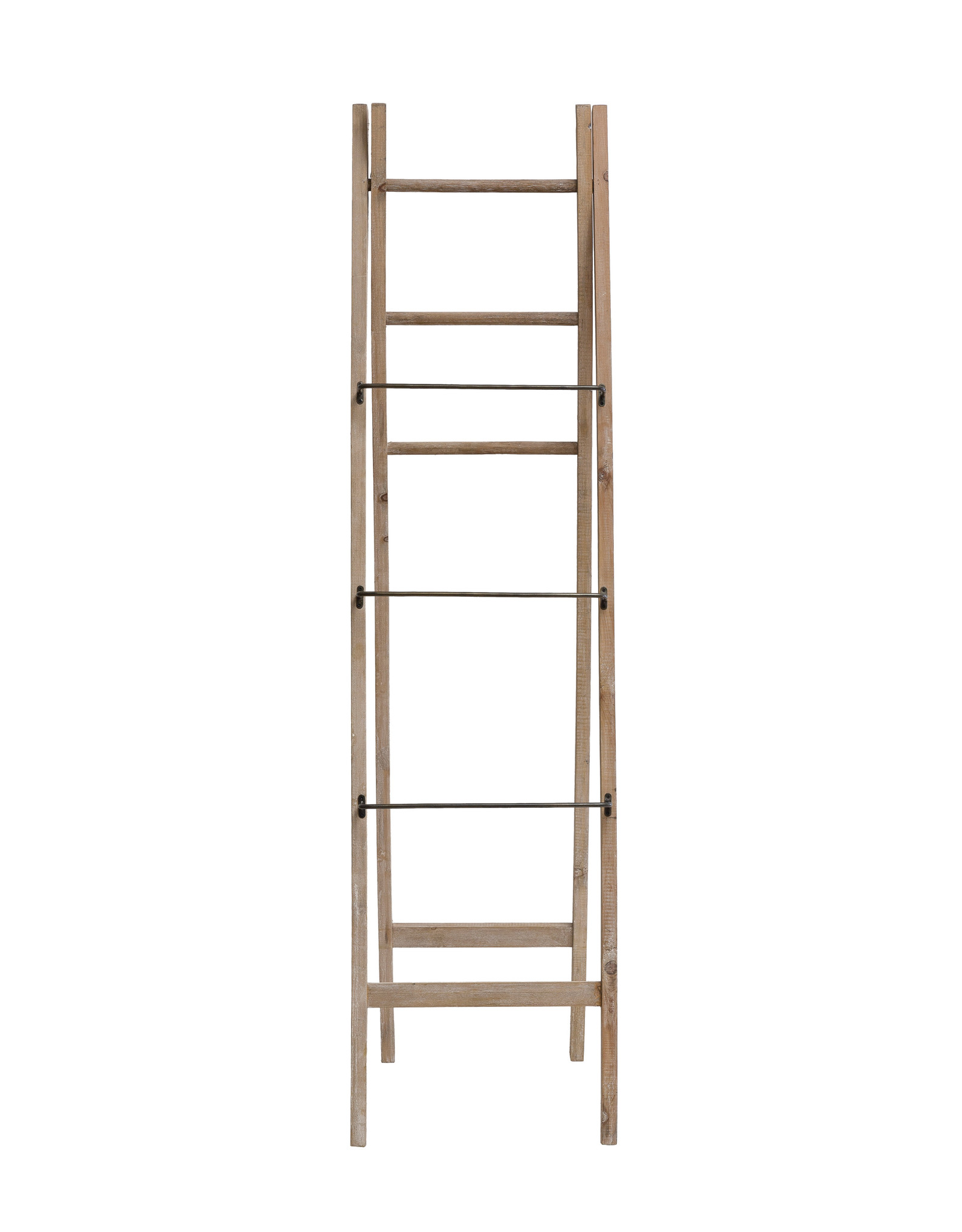 "2-Sided 71""H Decorative A-Frame Fir Wood Ladder with Metal & Wood Rungs"