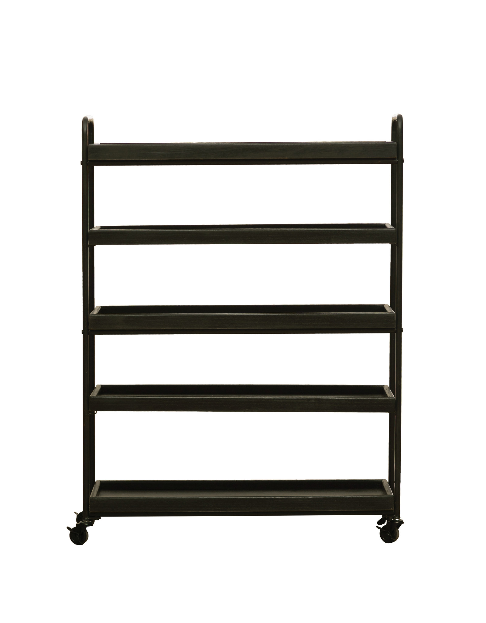"""44.25""""H Wood 5-Tier Tray-Style Shelves with Metal Frame & Locking Caster Wheels"""