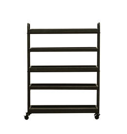 "44.25""H Wood 5-Tier Tray-Style Shelves with Metal Frame & Locking Caster Wheels"