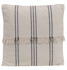 Square Striped Cotton Mudcloth Pillow with Fringe Center