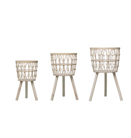 "19.25"", 20.5"" & 25.5"" Bamboo Wood Baskets with Legs & Whitewashed Finish (Set of 3 Sizes)"