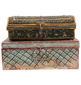 Hand-Painted Metal Storage Box with Heavily Distressed Finish (Set of 2 Designs/Each one will vary)