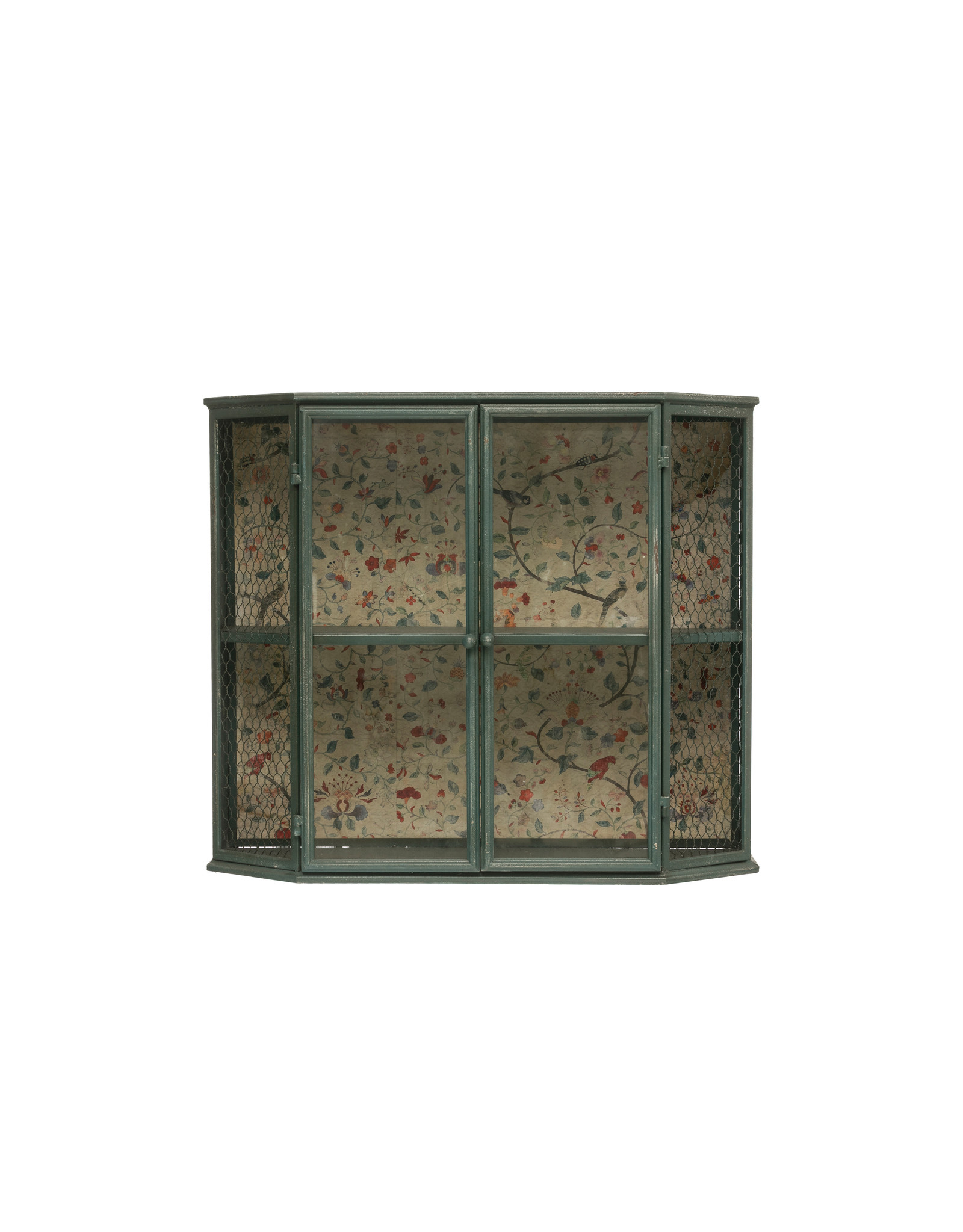 """Heavily Distressed 27.5""""L Metal Cabinet with 2 Sections, 2 Glass Doors & Floral Paper Back (Hangs or Sits)"""