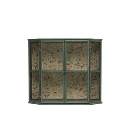 "Heavily Distressed 27.5""L Metal Cabinet with 2 Sections, 2 Glass Doors & Floral Paper Back (Hangs or Sits)"