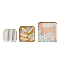Square Enameled Acacia Wood Trays (Set of 3 Sizes/Patterns)
