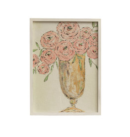 """23.25""""H Textured Flowers in Vase Wall Décor with Rectangle Wood Frame"""