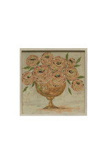 """20.25"""" Textured Flowers in Vase Wall Décor with Square Wood Frame"""