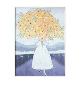 Girl Holding Flowers Wood Framed Wall Décor