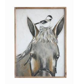 Wood Framed Horse & Bird Wall Décor