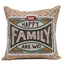 """""""One Happy Family Are We!"""" Reversible Cotton Stamp Pillow with Solid Back"""