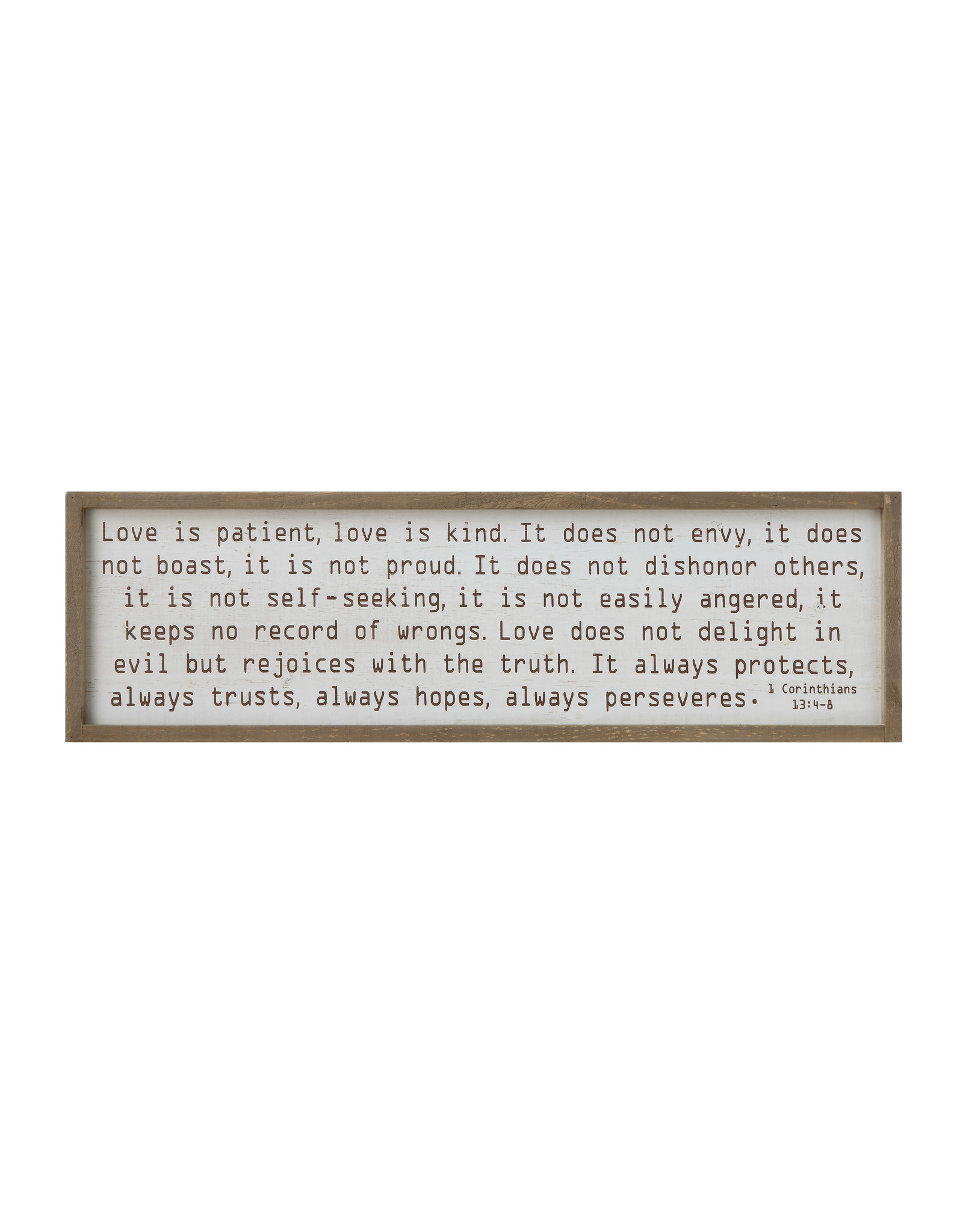 """""""Love is patient…"""" Wood Framed Wall Décor"""