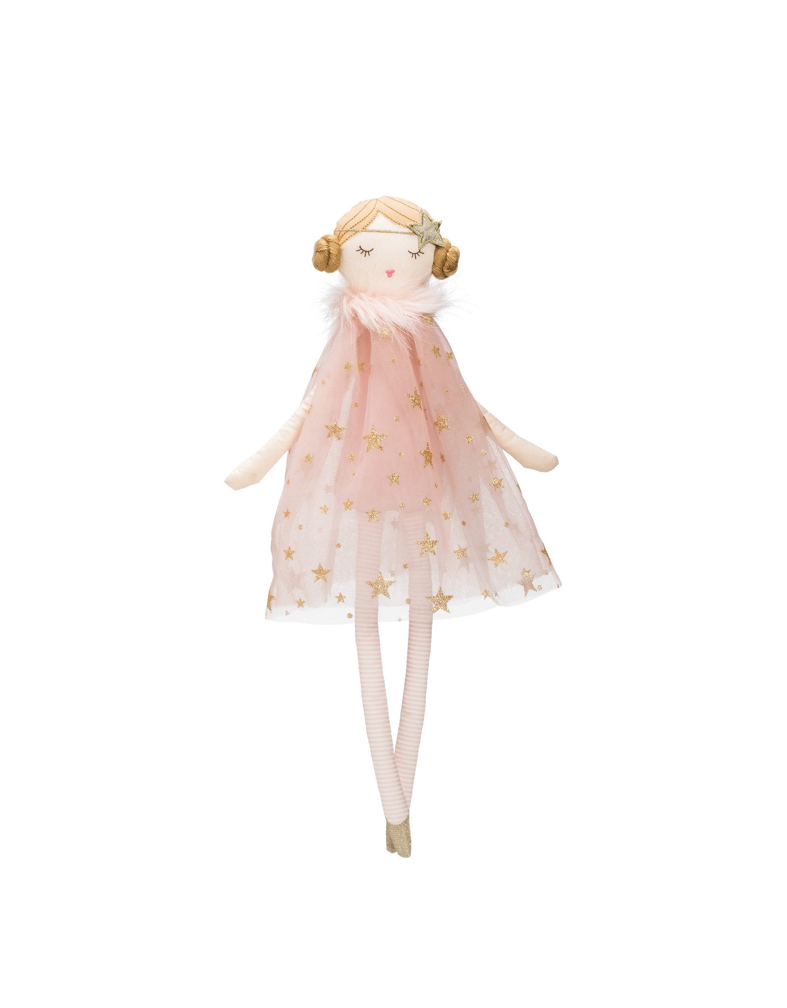 Plush Ballerina Doll with Pink & Gold Star Dress