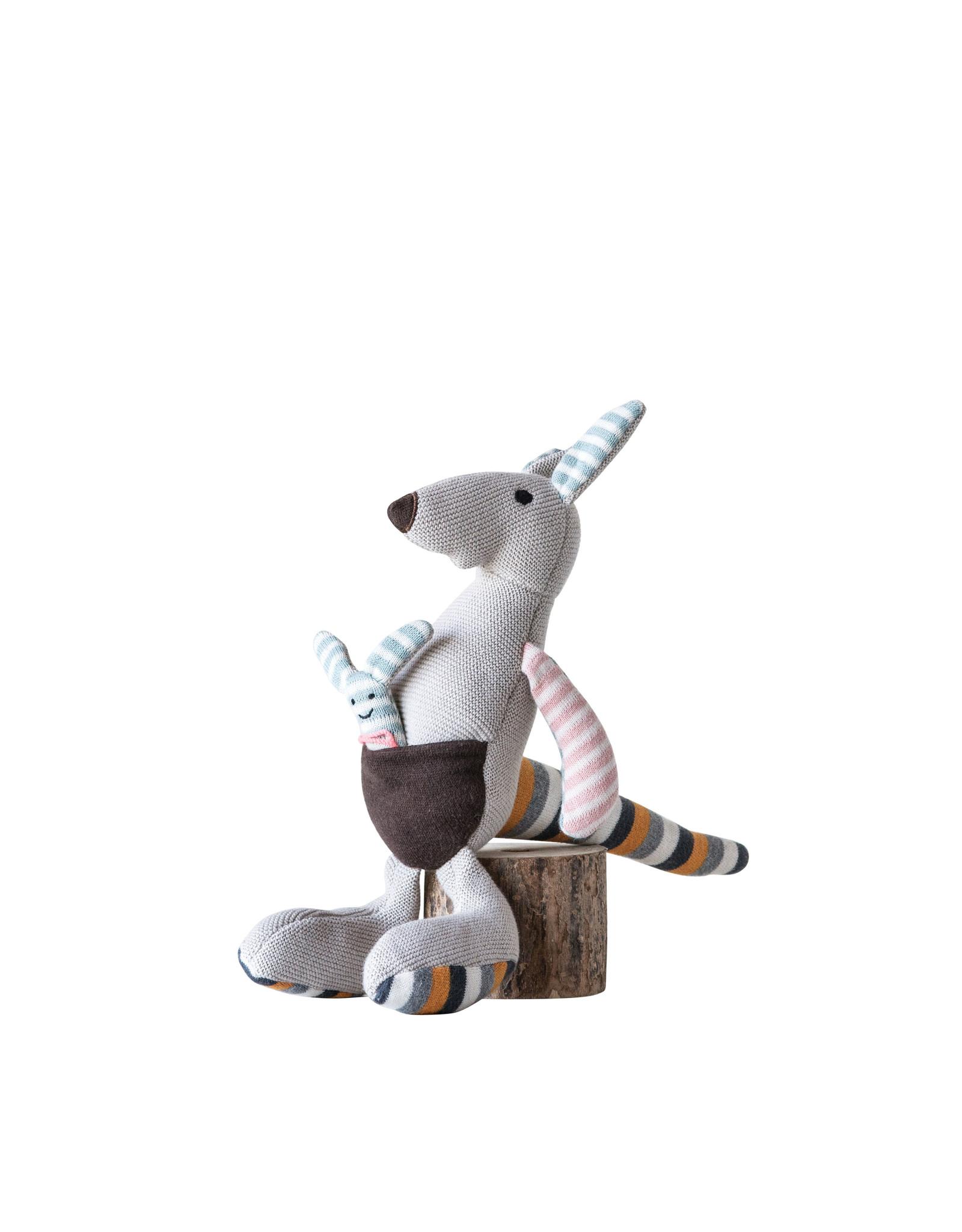 Grey Cotton Knit Kangaroo with Joey