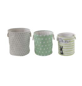 """""""Little One"""" Round Canvas Hamper Baskets (Set of 3 Sizes/Designs)"""