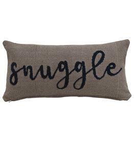 """Snuggle"" Embroidered Rectangle Cotton Lumbar Pillow"
