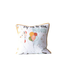 """""""Fly Me to the Moon"""" Square Cotton Pillow"""