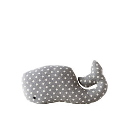 Grey Whale Shaped Cotton Knit Pillow with White Polka Dots