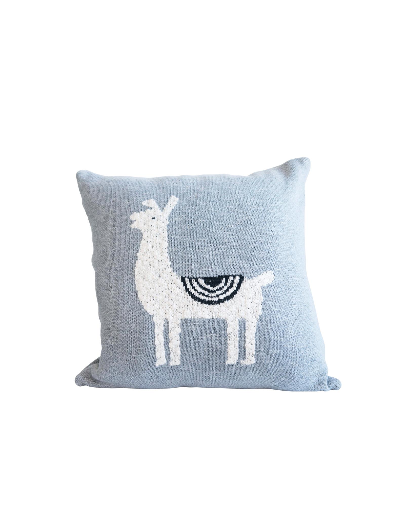 Square Cotton Knit Grey Square Llama Pillow