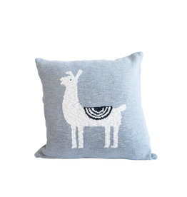 Square Cotton Knit Grey Square Llama Pillow