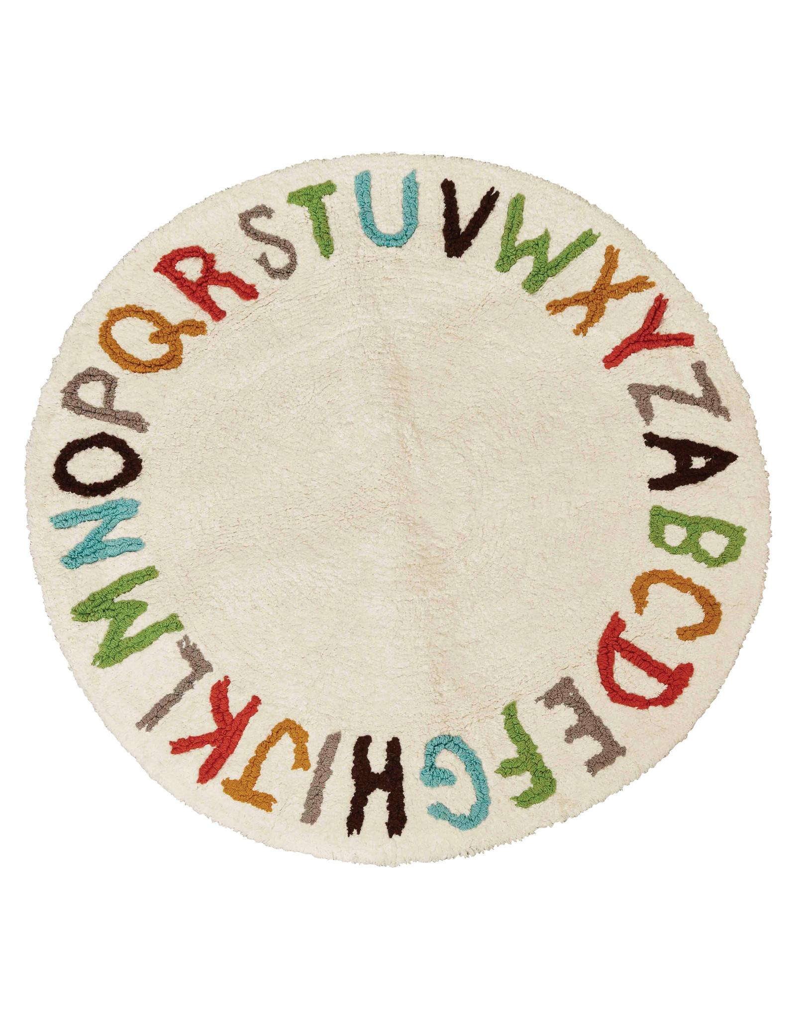 """38"""" Round Cotton Tufted Alphabet Rug"""