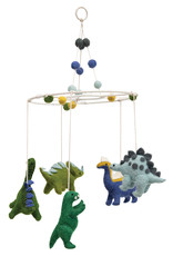 Wool Felt Dinosaur Mobile with Pom Poms