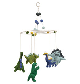 Wool Felt Dinosaur Mobile with Pom Poms