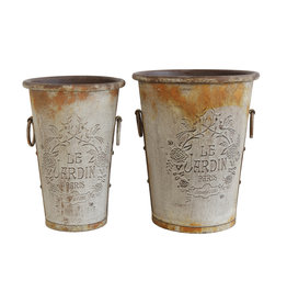 "Embossed Metal ""Le Jardin Paris"" Buckets with Rust Finish (Set of 2 Sizes)"