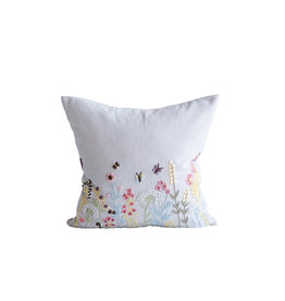 Square White Cotton Pillow with Embroidered  Multicolor French Knot Flowers