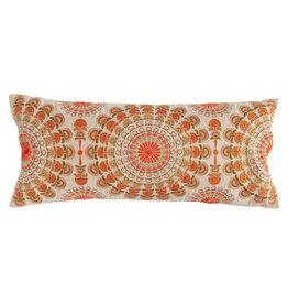 Orange, Pink & Green Cotton Embroidered Lumbar Pillow