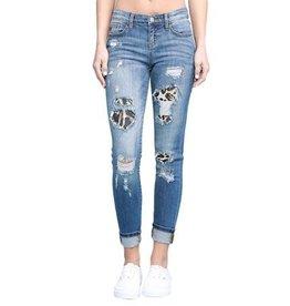Judy Blue Leopard Patch Cuff Skinny Jeans