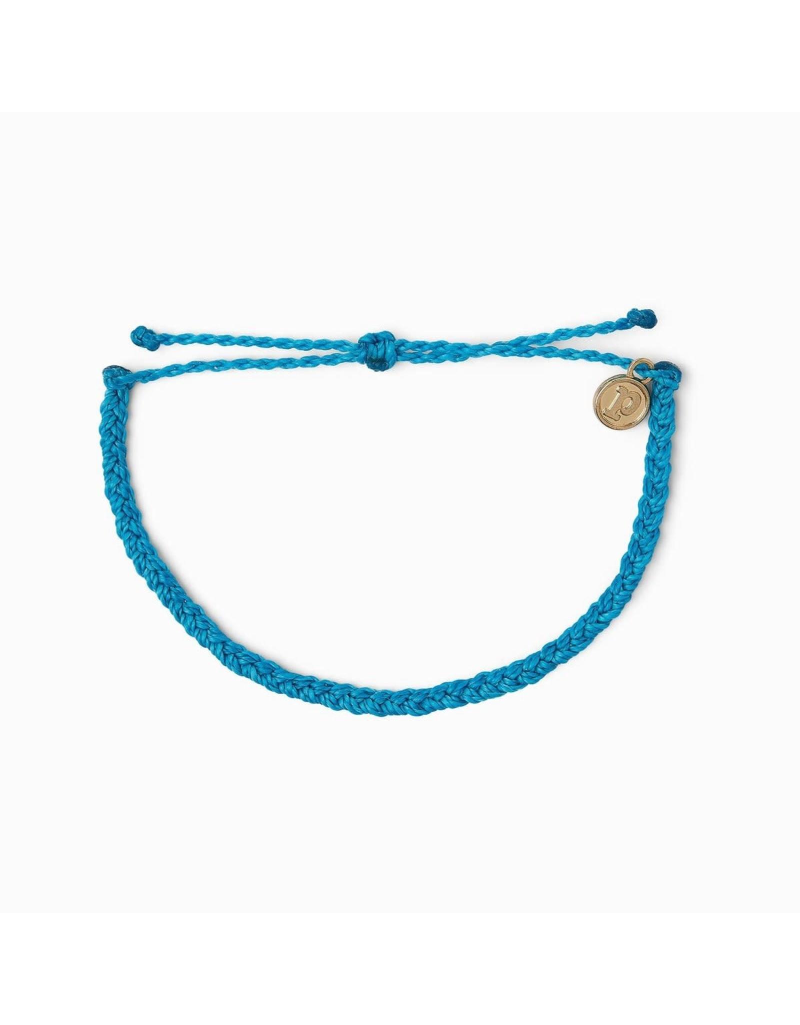 Puravida Bracelets Mini Braided Solid Neon Blue