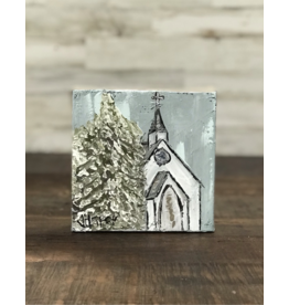 Jill Harper - 6x6 Winter White Church