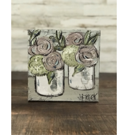 Jill Harper - 8x8 Floral - Two White Vases