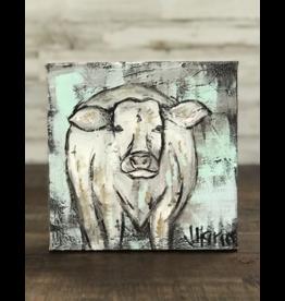 Jill Harper - 8x8 White Cow