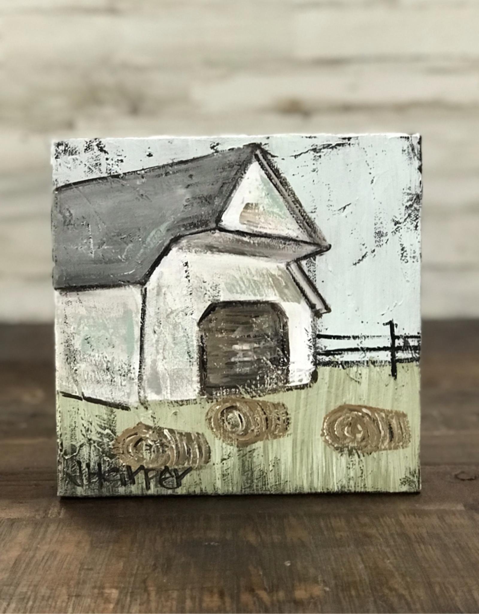 Jill Harper - 8x8 White Hay Barn