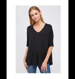 V Neck Short Sleeve Top - Black
