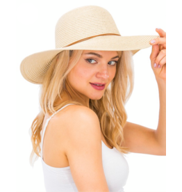 Tan Sun Hat With Suede Tassel