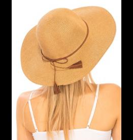 Khaki Sun Hat With Suede Tassel