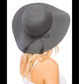 Black Sun Hat With Suede Tassel
