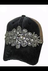 Black Rhinestone Trucker Hat