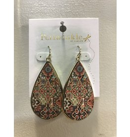 Gold Multi Color Tear Earrings